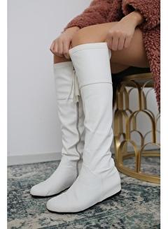 Limoya Beyaz Dizaltı Gizli Topuklu Fermuar Detaylı Streç Çizme